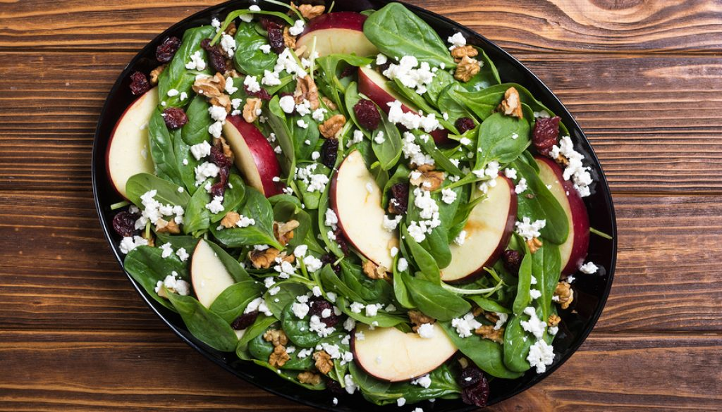 Autumn Spinach Salad With Apple , Cheese , Walnut And Dried Cran