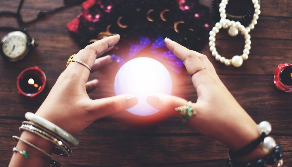 Psychic Readings And Clairvoyance Concept / Crystal Ball Fortune